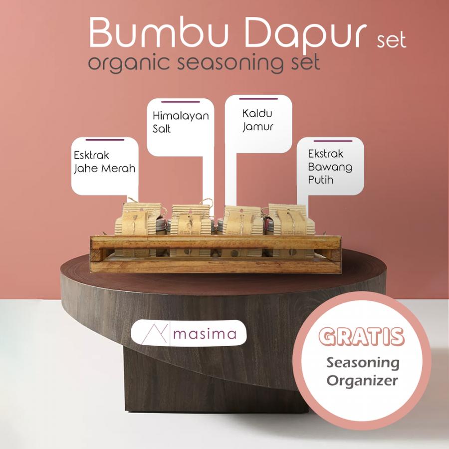 Masima Organic Seasoning Set / Paket Bumbu Dapur Masak Organik Lengkap - FREE Rak Bumbu Kayu
