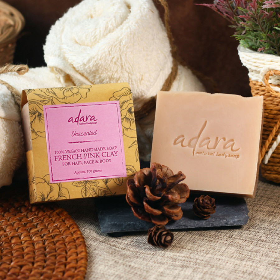 Adara Organic Handmade French Pink Clay Soap - Unscented