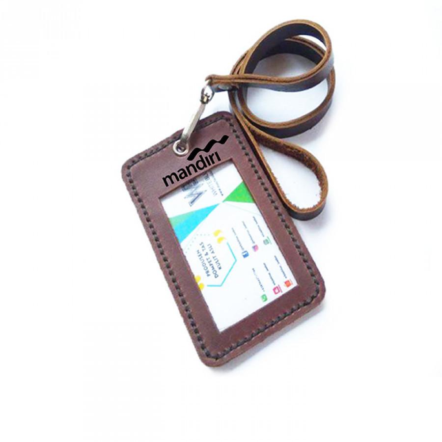 Name Tag Id Kulit Asli Logo Bank MANDIRI Warna Coklat Garansi 1 Tahun-Tali Id Card-