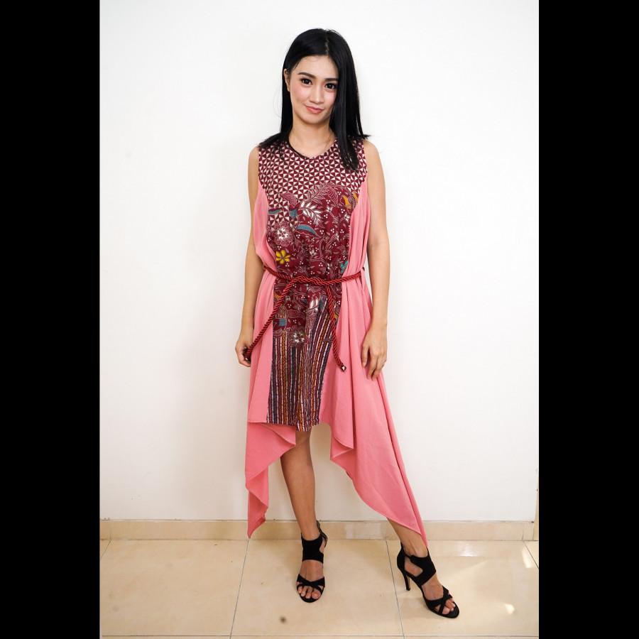 GESYAL Dress MAxi Dress Dress Tanpa Lengan Dress Kondangan Dress Midi Wanita Batik Terusan