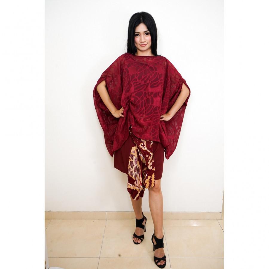 GESYAL Setelan Batik Wanita Dress Batik Modern Dress Pesta Baju Kondangan Terusan Dress Midi Pesta