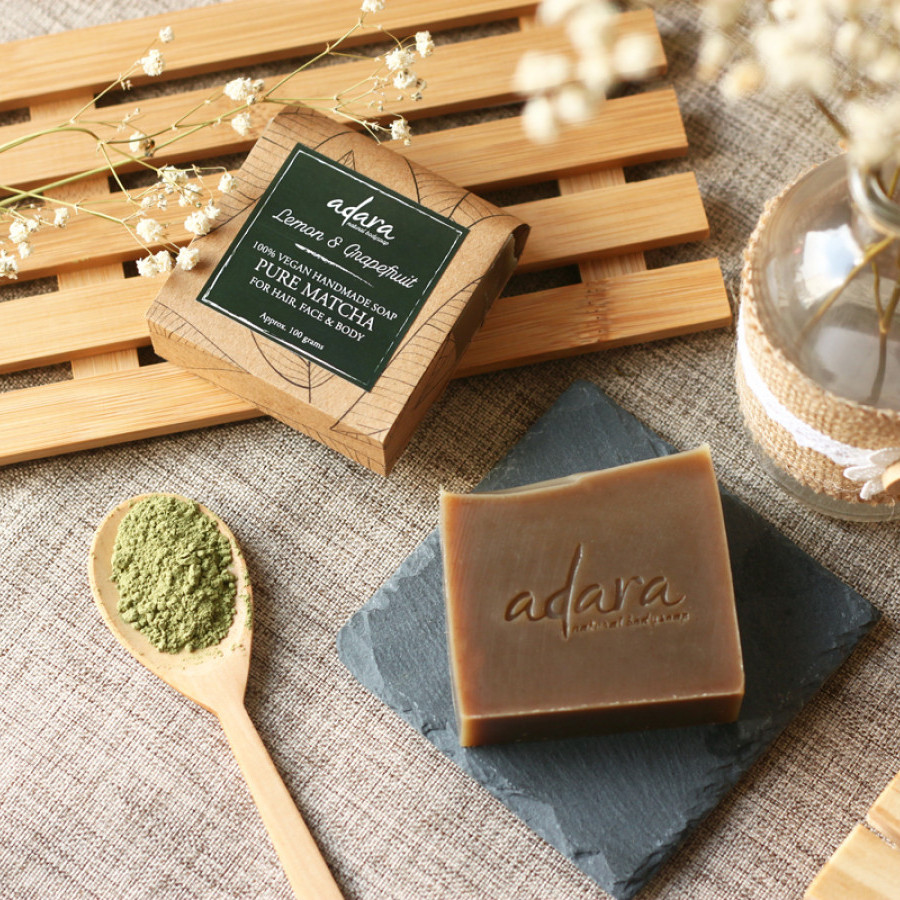 Adara Organic Handmade Pure Matcha Soap - Lemon & Grapefruit