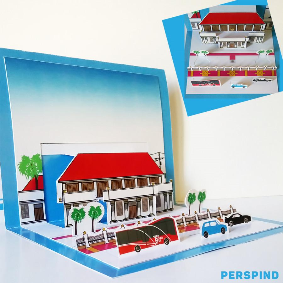 Pop Up 3D Postcard Gedung Negara Grahadi Surabaya