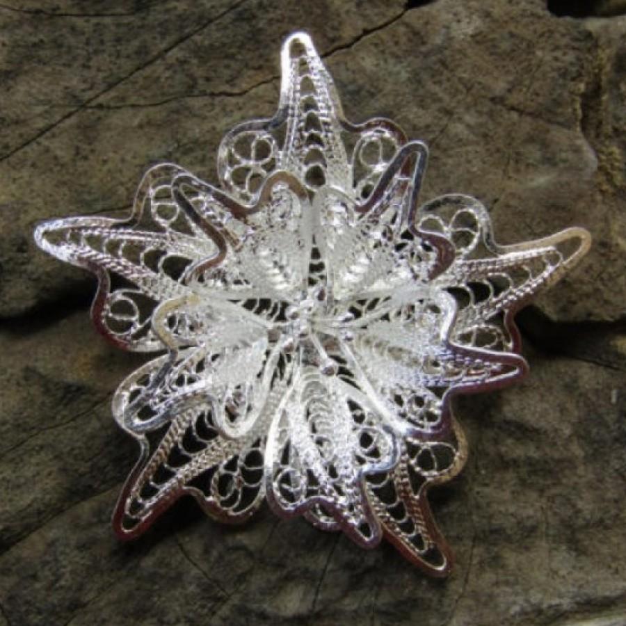 Bross perak filigri motif kembang bunga 100322