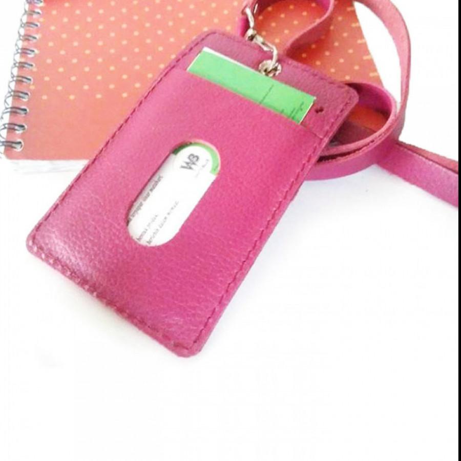 Name Tag Id Kulit Asli GARANSI 1 TAHUN Warna Pink - Dompet Id Card. Gantungan Id Card -