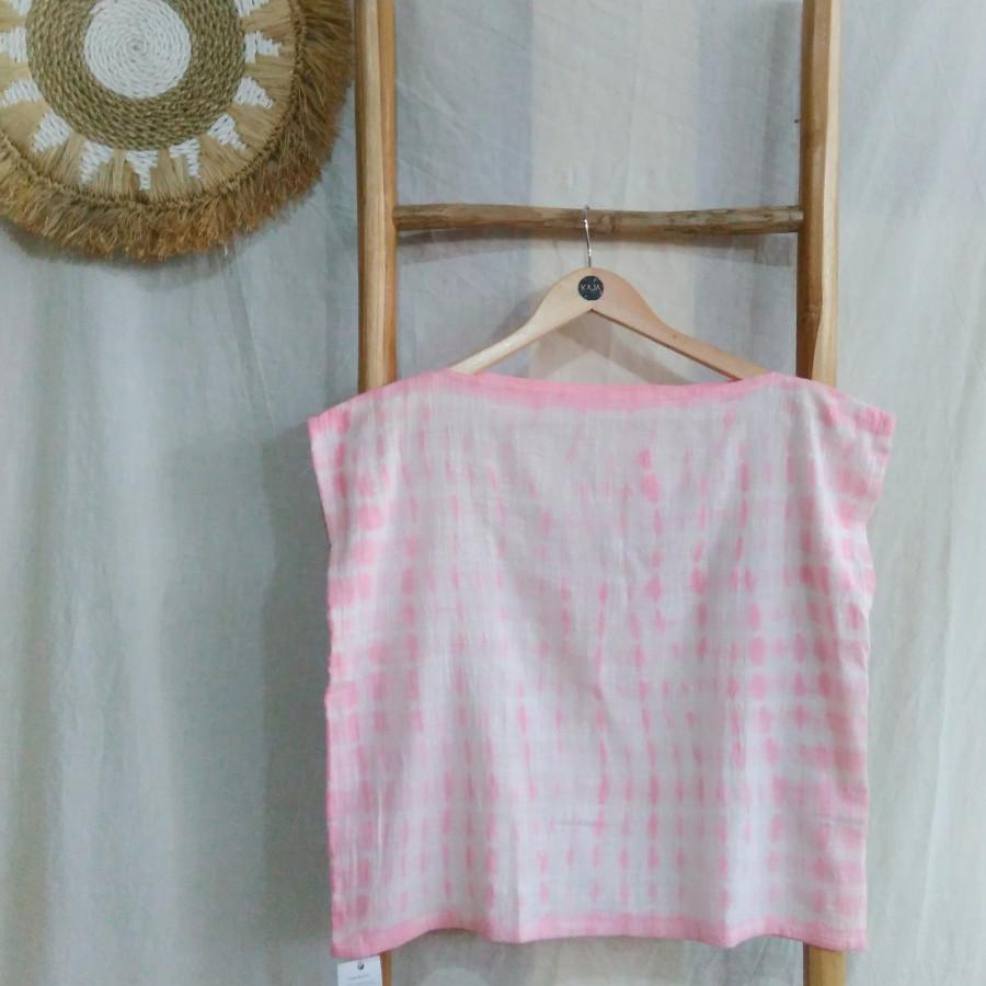 Atasan Shibori Wanita Crop Top Pink - Naya Top 2