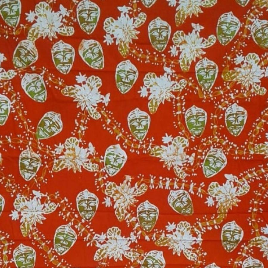 Batik Topeng Malang Sulur Teratai Orange