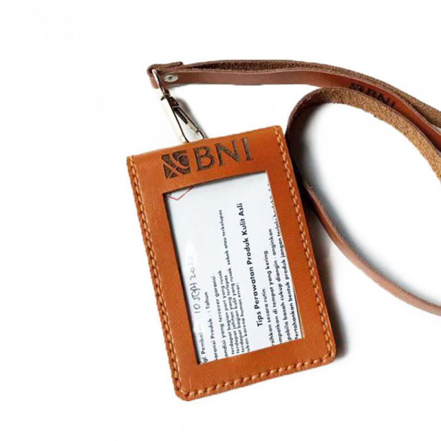 Name Tag Id Kulit Asli Logo Bank BNI Model Saku Lipat dan Tali Warna Tan Garansi 1 Tahun - Id Card Holder