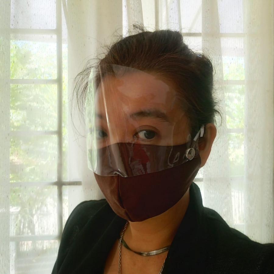 Masker Kain 2 lapis dan Filter  Masker Faceshield  MAsker Shield Mata SET isi 4 Gesyal