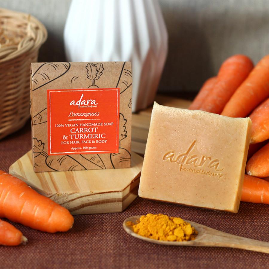Adara Organic Handmade Carrot & Turmeric Soap - Lemongrass
