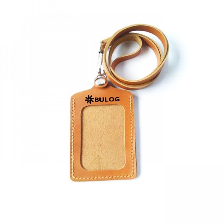 Name Tag Kulit Asli Model SImple Logo Bulog - Tempat Id Card