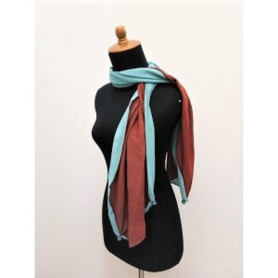 GESYAL Syal Travelling Polos Scarf Wanita - Brown Blue