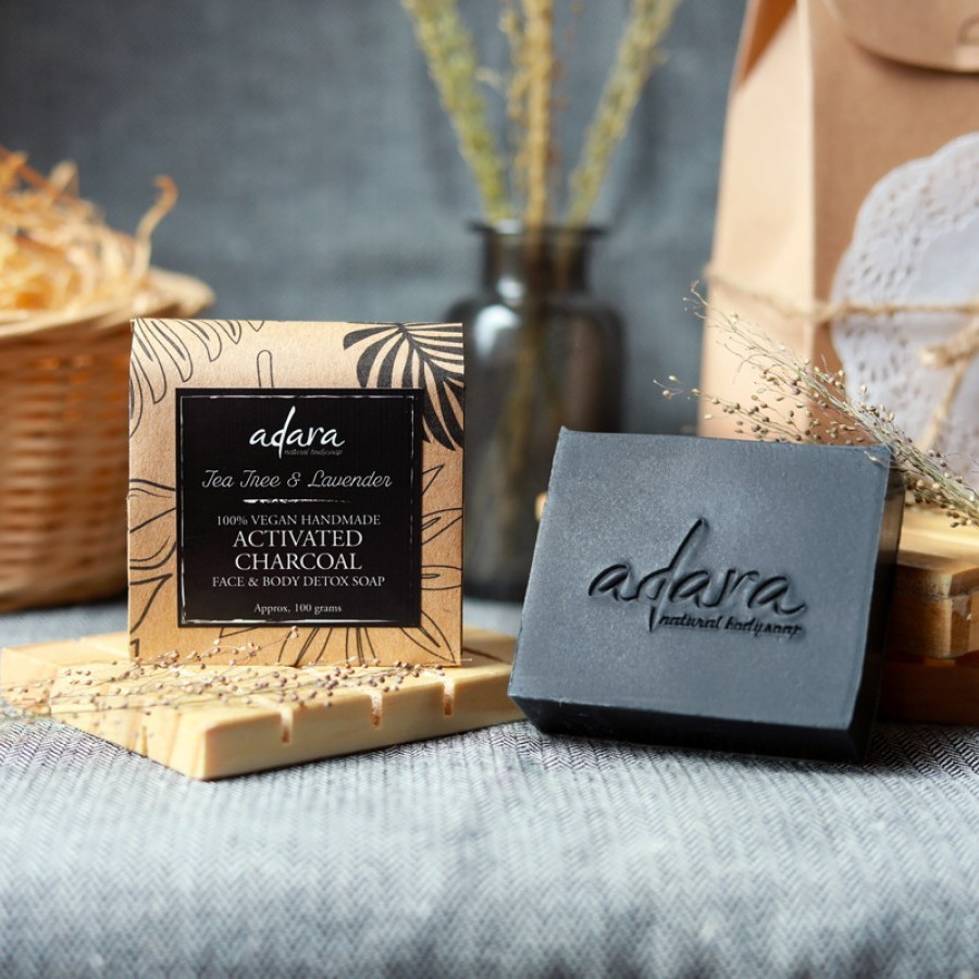 Adara Organic Handmade Activated Charcoal Soap - Tea Tree & Lavender