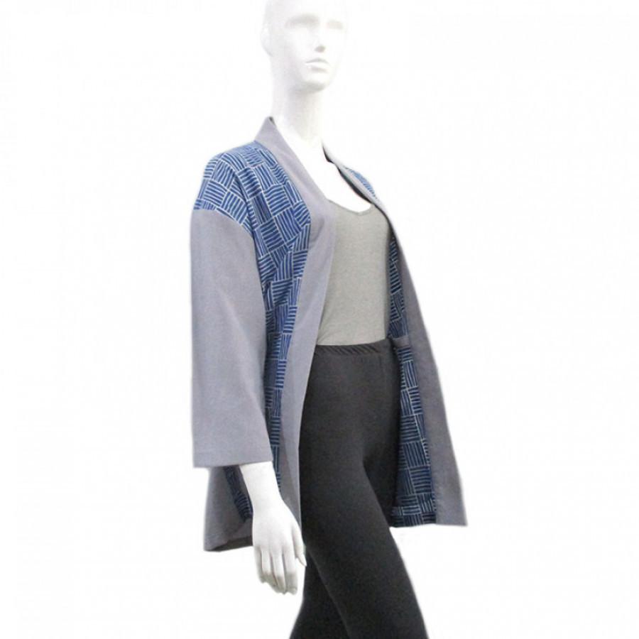 Koinobori Thatch Batik Blue Haori Outer Wanita / Pria / Unisex