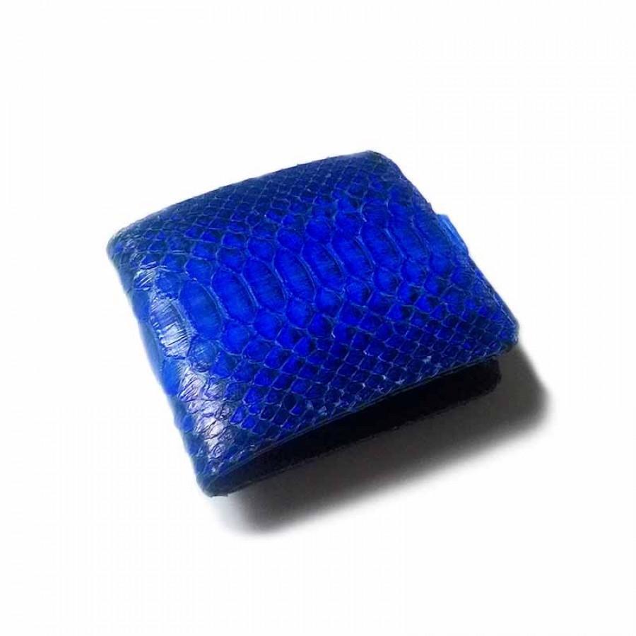 Dompet Pria Kulit Asli Ular Phyton Warna Biru Model Bifold