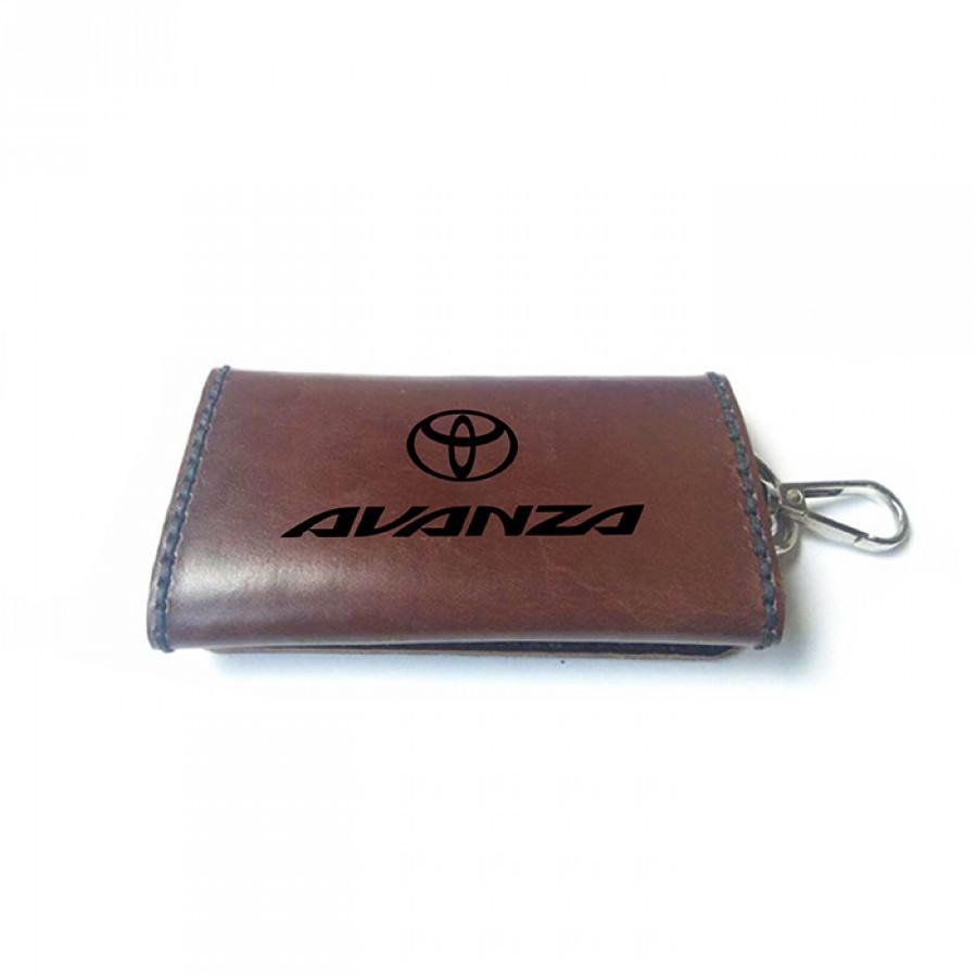 Dompet Stnk Kulit Asli Logo Toyota AVANZA Warna Coklat GARANSI 1 TAHUN - Gantungan Kunci Mobil