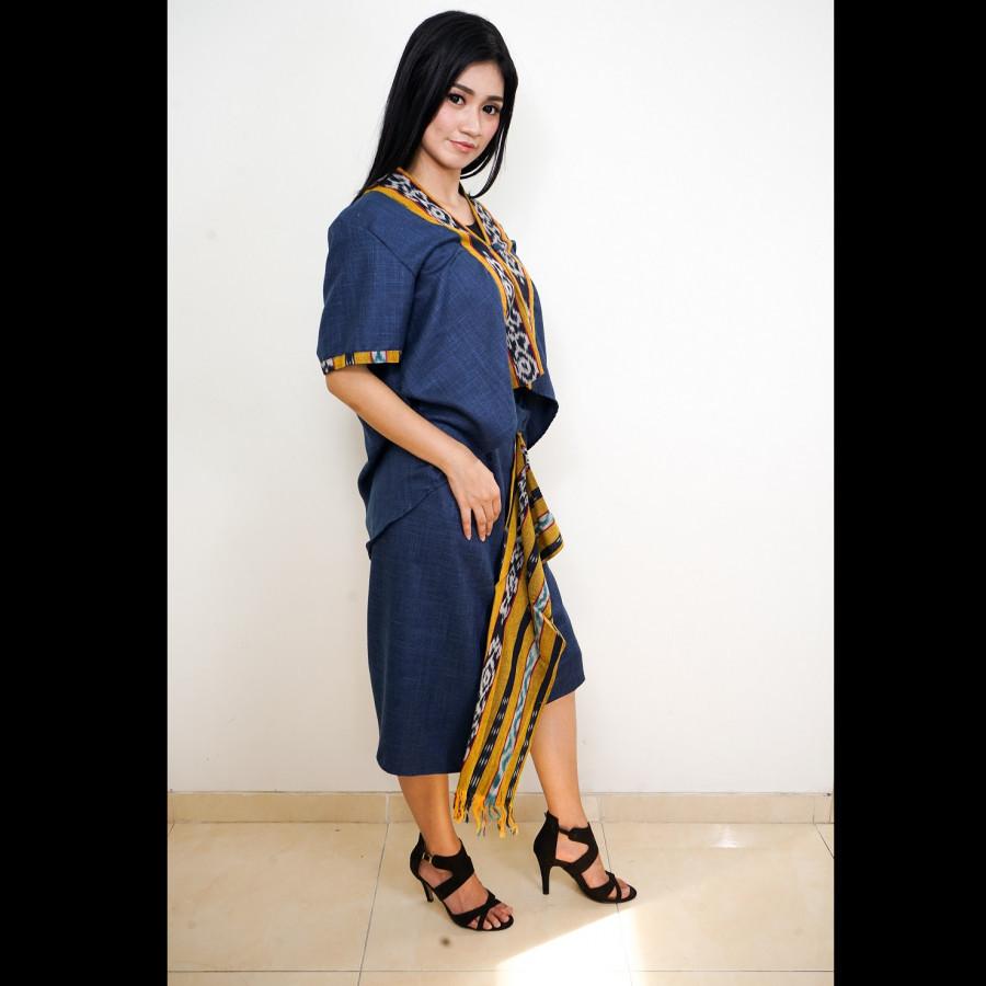 GESYAL Kebaya Motif Polos List Batik Setelan Wanita - Biru