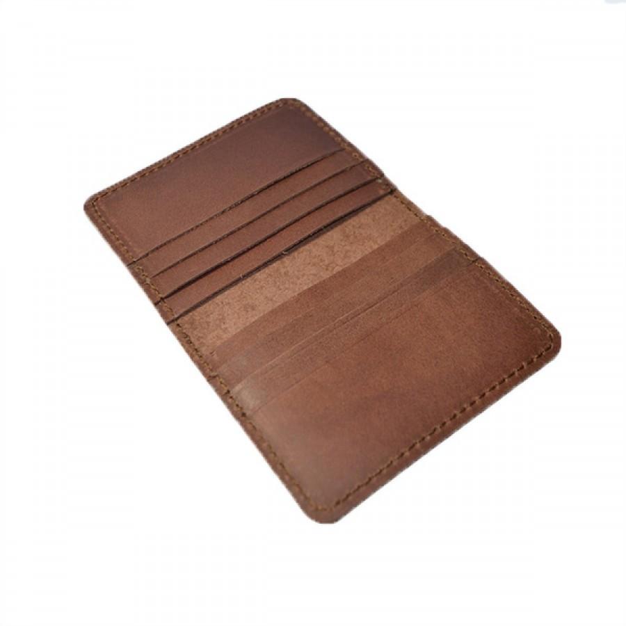 Dompet Kartu Kulit Asli Model Lipat 8 Slot Kartu Warna Coklat