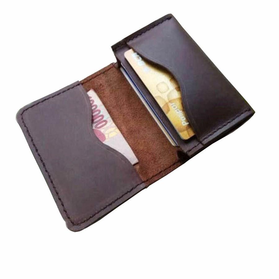 Dompet Kartu Kulit Asli Sapi Pull Up Warna Coklat (Dompet Kulit Asli)
