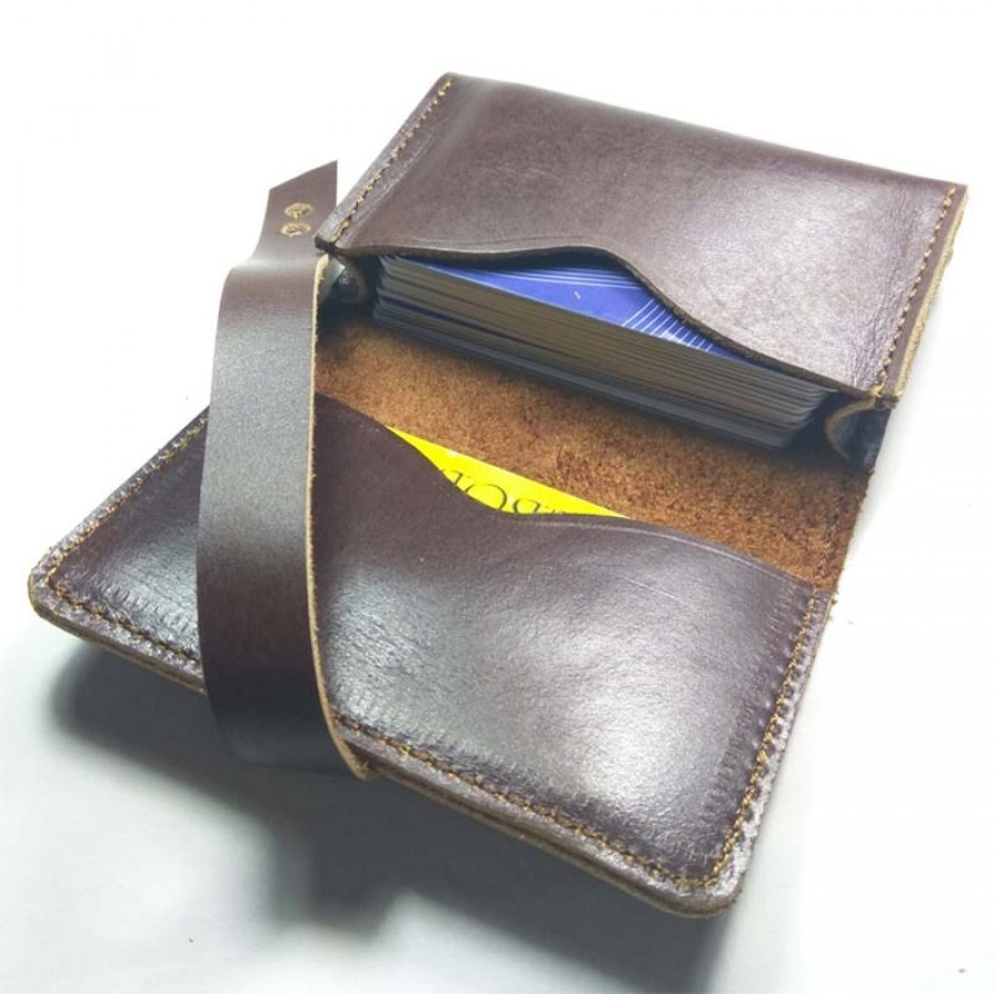Dompet Kartu Kulit Asli Sapi Pull Up Warna Brown