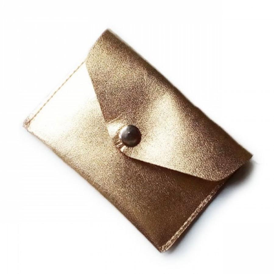 Dompet Kartu Kulit Asli Warna Emas (dompet pria, dompet wanita)