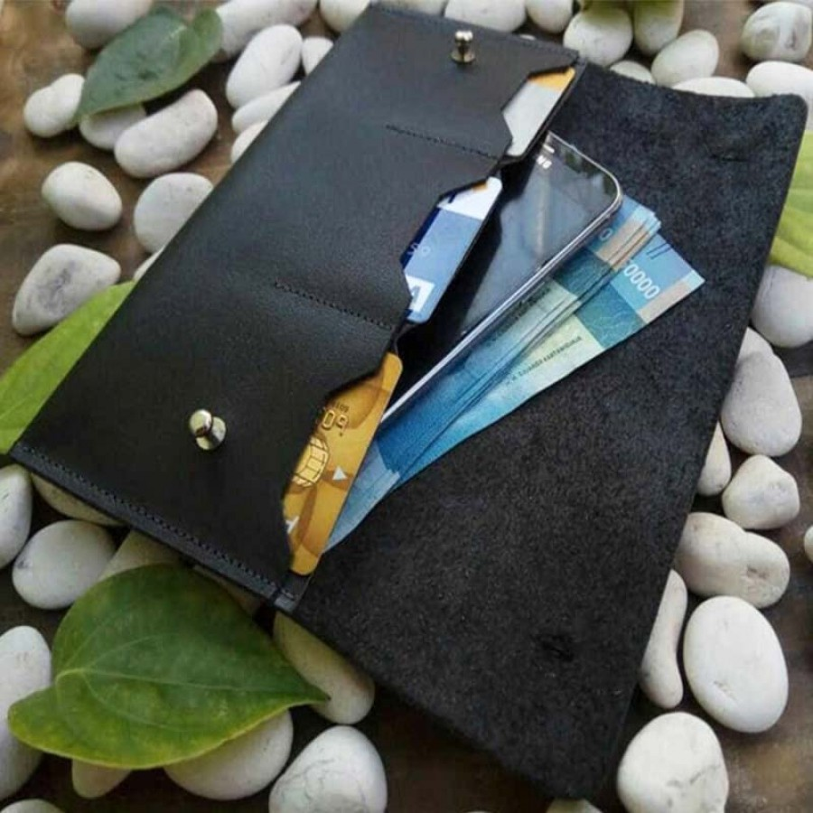 Dompet Panjang Kulit Asli Unisex Handmade Model Bifold Warna Hitam