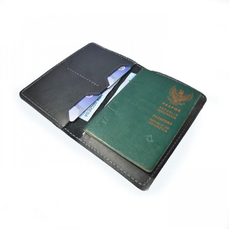 Dompet Passport Kulit Asli Warna Hitam - Passport Cover. Dompet Kulit -