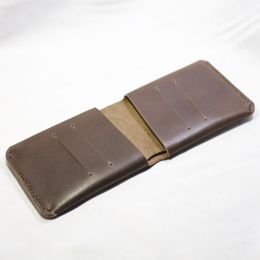 Dompet Pria Kulit Asli Sapi Model Slim Warna Coklat (Simple Wallet)