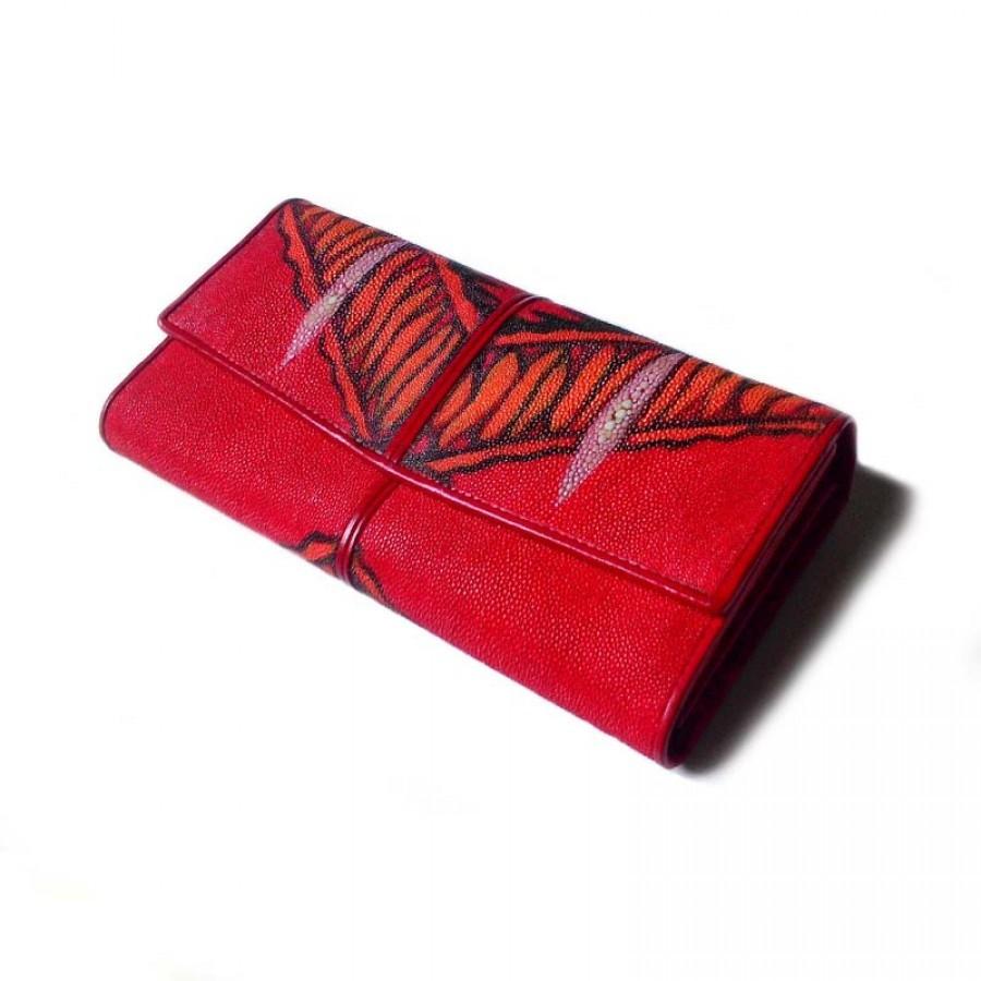 Dompet wanita kulit asli ikan pari finishing lukis tangan (dompet pari)