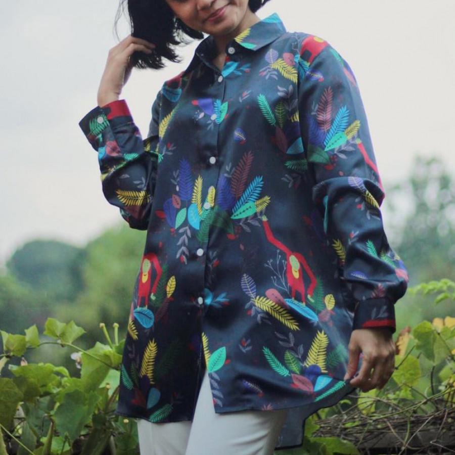 Happy Orangutan Satin Shirt - Long Sleeve