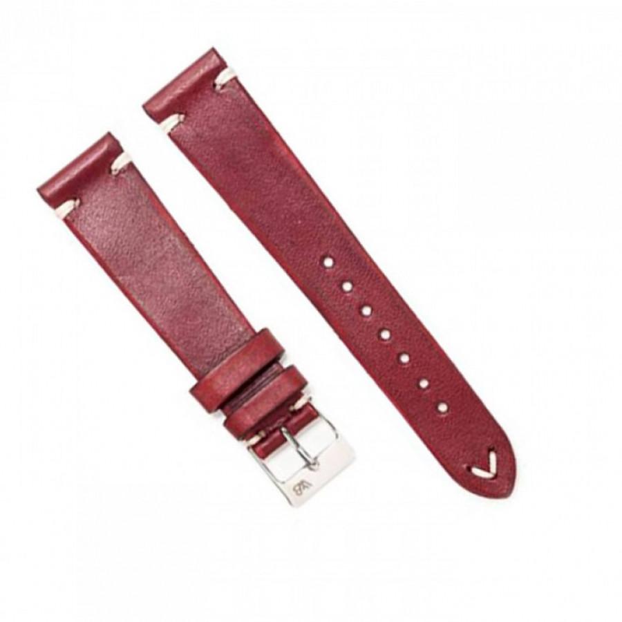 Tali Jam Kulit Asli Sapi Handmade Warna Merah Size 22mm -Leather Strap-