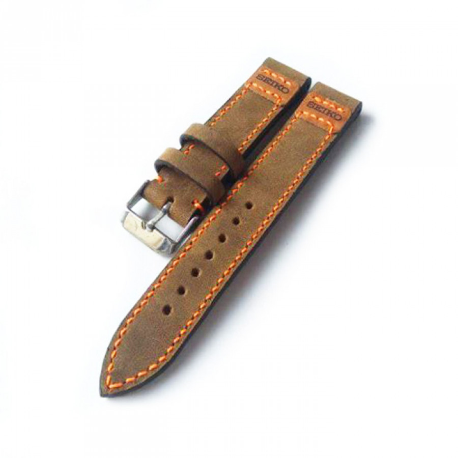 Tali jam tangan kulit asli size 20 mm warna coklat logo seiko - GARANSI 1 TAHUN