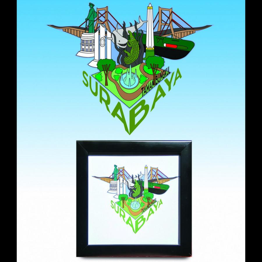 Bingkai Hiasan Ilustrasi Kota Surabaya