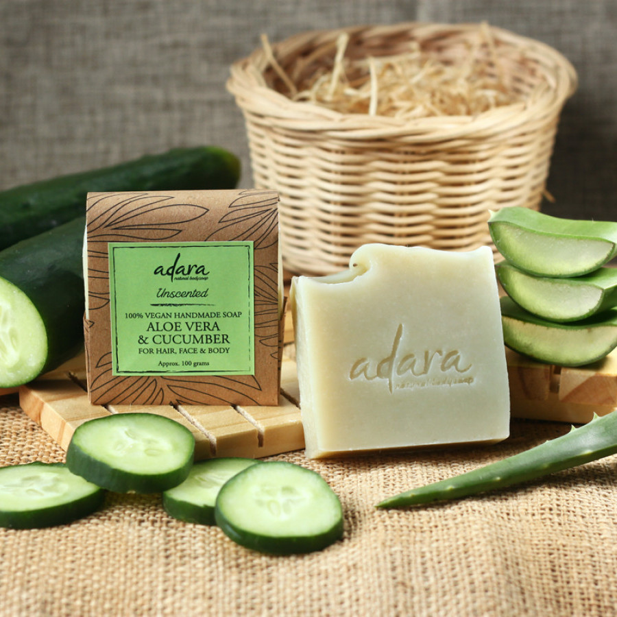 Adara Organic Handmade Aloe Vera & Cucumber Soap - Unscented