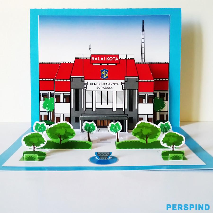 Pop Up 3D Postcard Gedung Balai Kota Surabaya