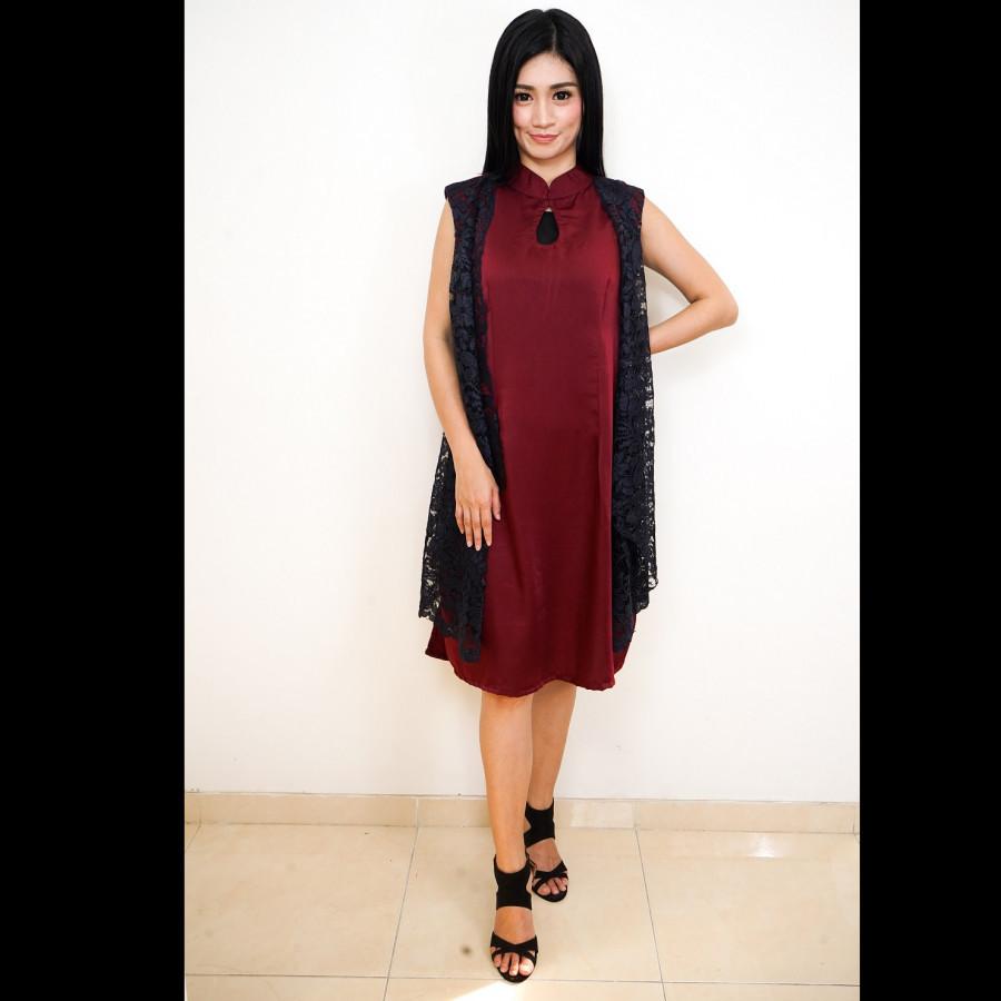 GESYAL Kutung Dress Merah Wanita Dress Midi Wanita Dress Pesta Wanita Dress Kondangan Terusan Brokat