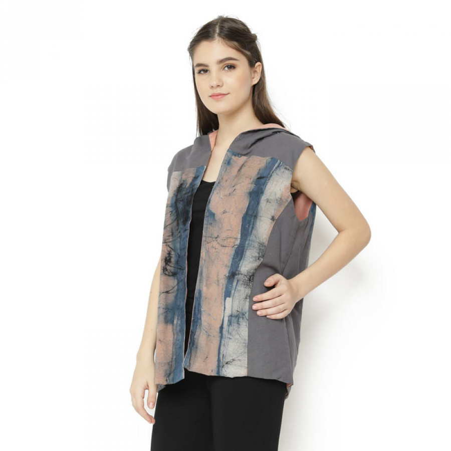 GESYAL Cardigan Bolak Balik Kombinasi Linen Jaket Atasan Wanita - Abu Pink