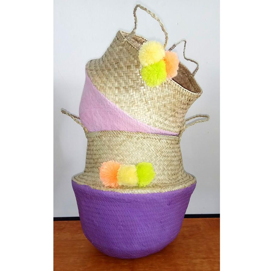 Keranjang gendut pandan (belly basket) 1 set isi 2