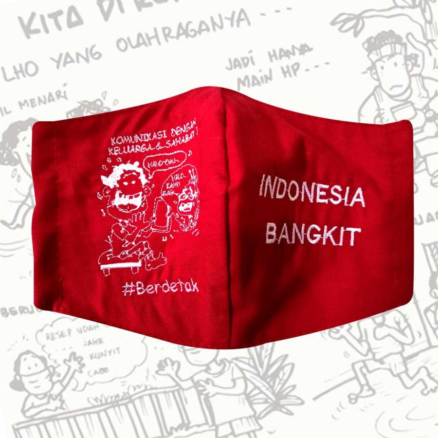 Masker 3 Lapis Bordir Indonesia Bangkit #Berdetak