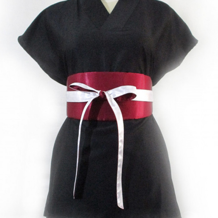 Koinobori Reversible Red / White Obi Belt Ikat Pinggang Wanita