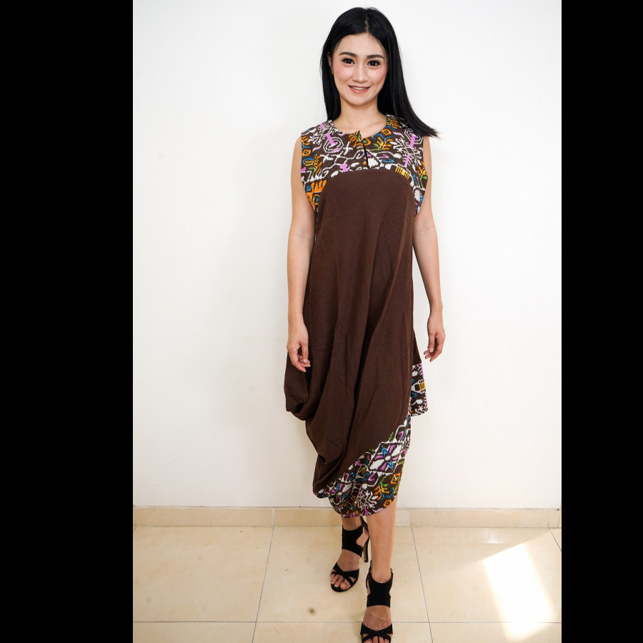 GESYAL Dress  Maxi Dress Dress Tanpa Lengan Dress Kondangan Dress Midi Batik Wanita Dress Linen