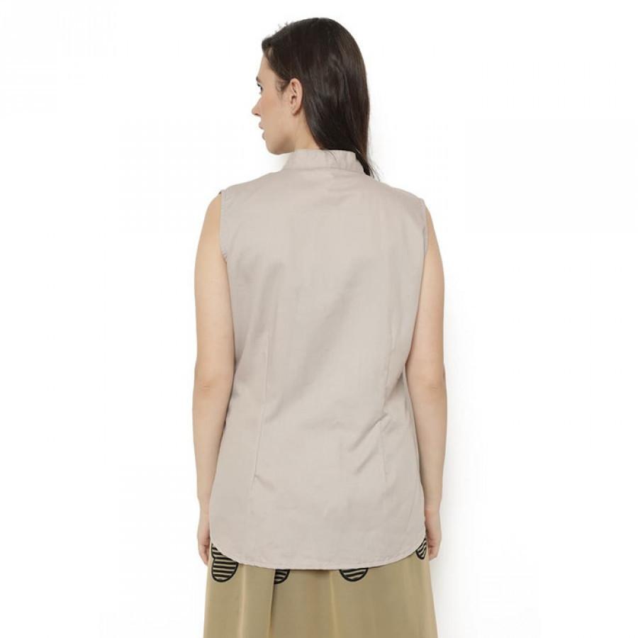 GESYAL Kebaya Katun Brokat Khakis. Dalaman jas. Blus resmi