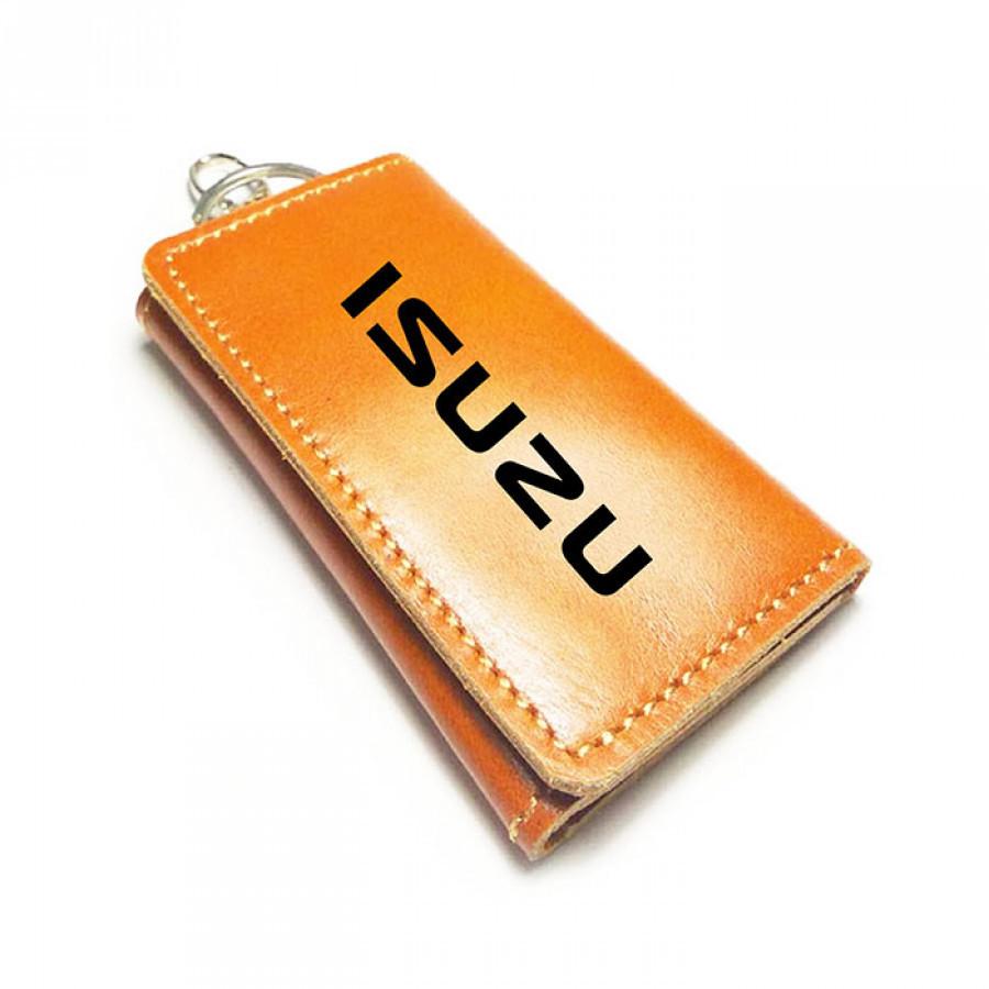 Dompet Stnk Kulit Asli Logo Isuzu Warna Coklat Tan GARANSI 1 TAHUN - Gantungan Kunci Mobil