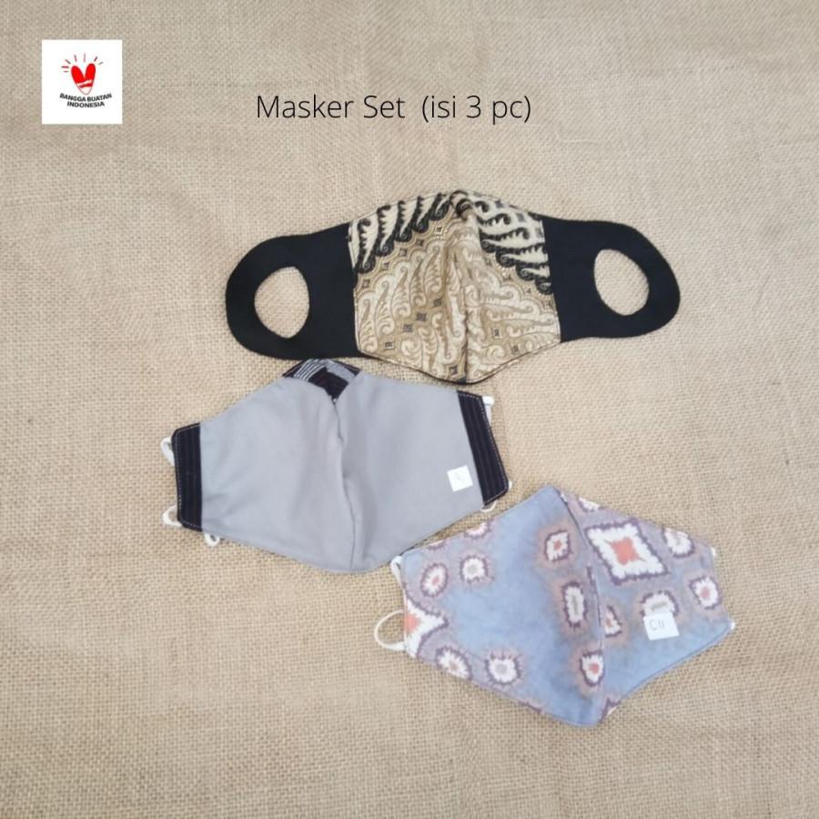 GESYAL Masker Fashion Scuba Batik MAsker Mangkok Set isi 3. Pola nyaman bikin betah