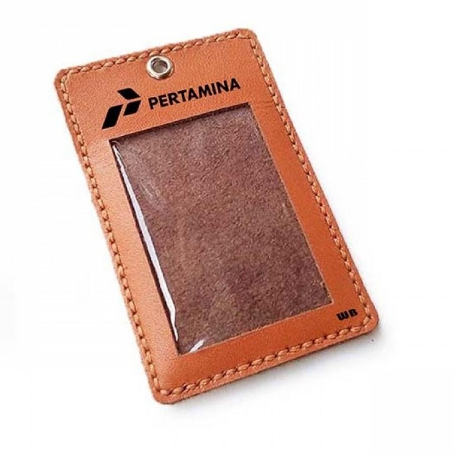 Name Tag Id Kulit Asli Logo Pertamina Warna Tan - Tali Id Card -