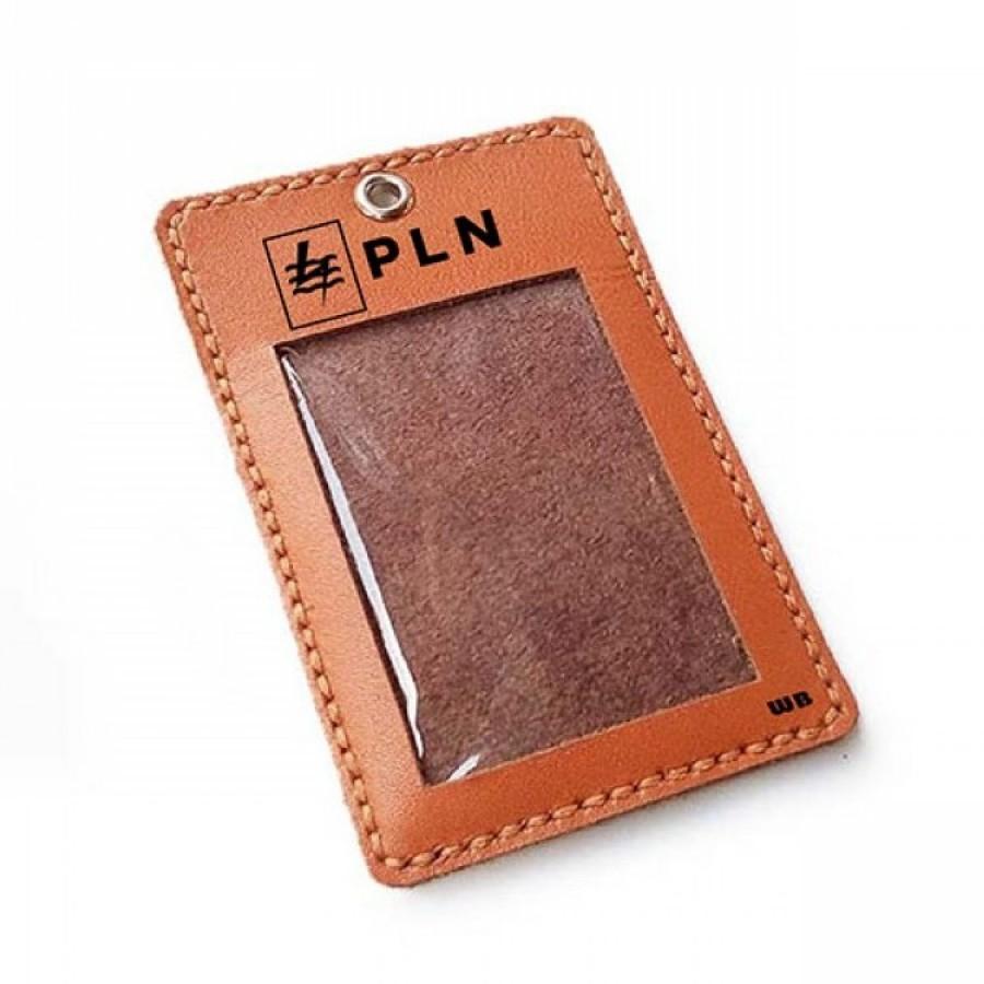 Name Tag Id Kulit Asli Logo PLN Warna Tan - Tali Id Card. Gantungan Id Card -