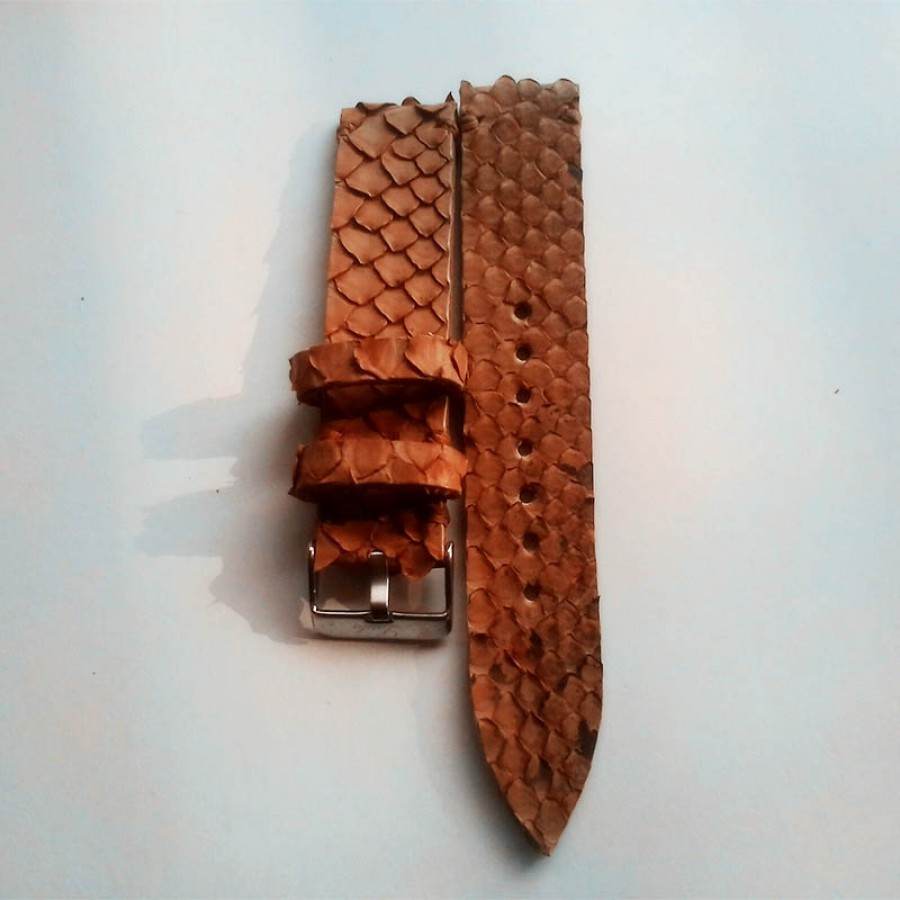 Tali Jam Tangan Kulit Asli Ular Phyton Warna Brown Size 24 mm