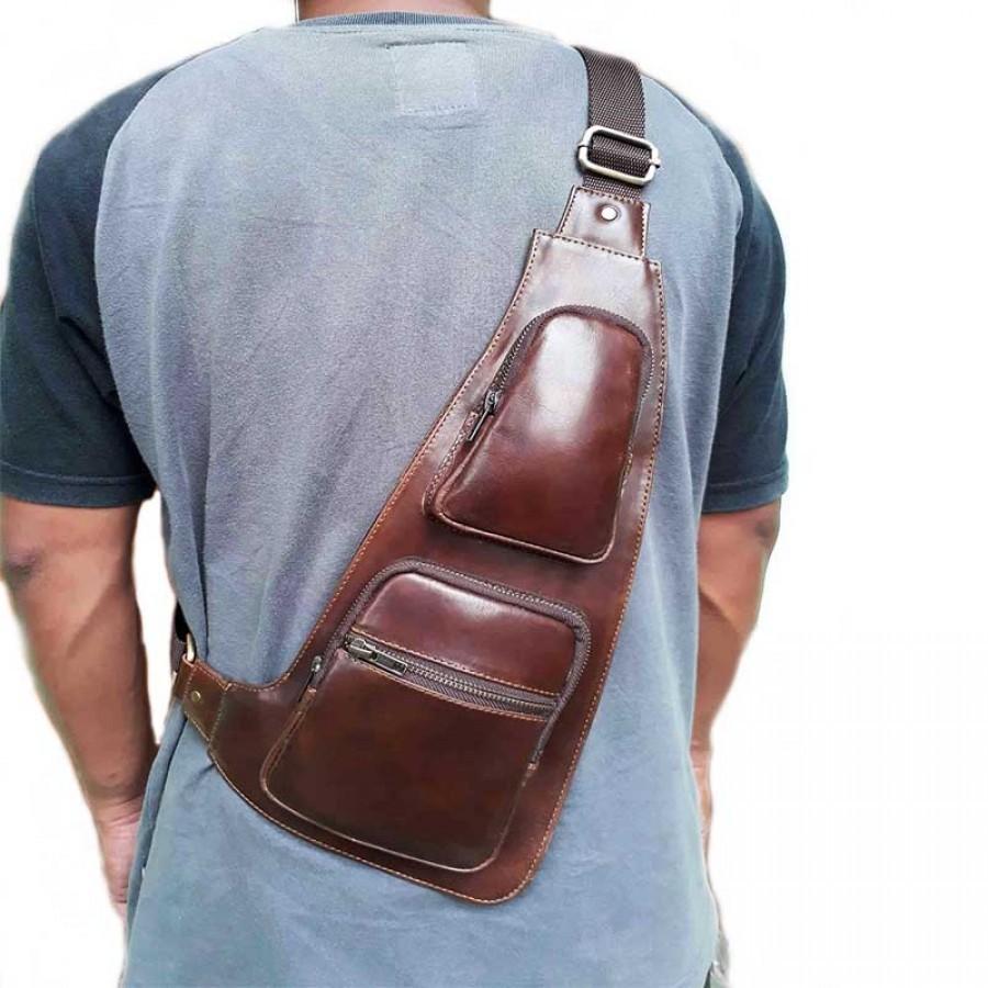 tas selempang pria kulit asli pull up warna coklat (tas kulit pria) ... 02efd2d988