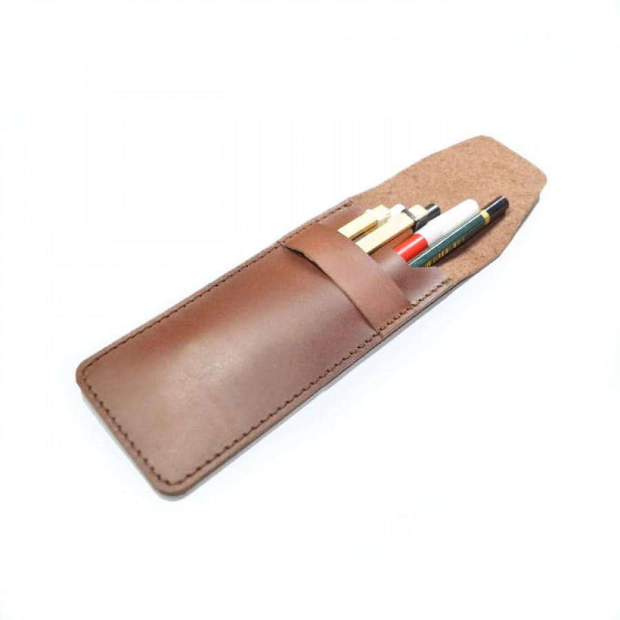 Tempat Pensil Kulit Asli Warna Coklat - Pencil Case -