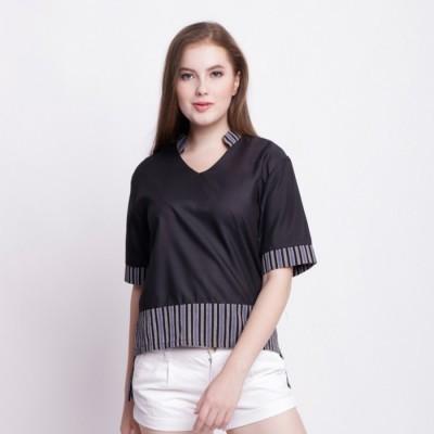 batik-dirga-gebang-atasan-wanita-blouse-lurik-black